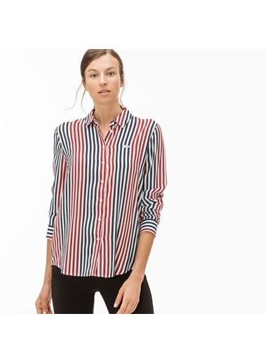 Lacoste Kadın Çizgili Gömlek CF1904.04R Bordo